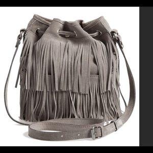 Patricia Nash Gray Suede Fringe crossbody Bag